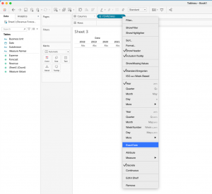 How to create a stacked bar and a line in Tableau - Step 1