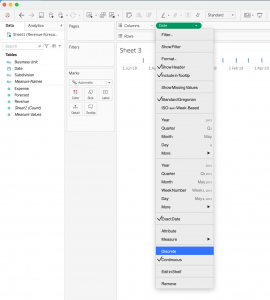 How to create a stacked bar and a line in Tableau - Step 2
