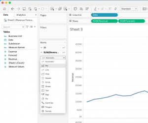 How to create a stacked bar and a line in Tableau - Step 5