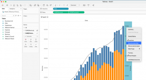 How to create a stacked bar and a line in Tableau - Step 8